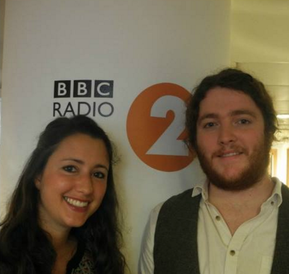 Jonas and Jane on BBC Radio 2 just before performing on the Chris Evans Breakfast Show